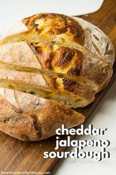 Artisan Sourdough Bread Recipe, Sourdough Bread Starter, Sourdough Recipes, Artisan Bread, Bread Recipes, Jalapeno Cheese Bread, Jalapeno Cheddar, Cheddar Cheese, Fermented Foods