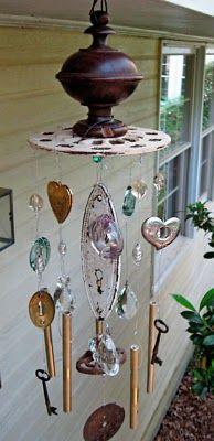 hang trinkets on wire between rails under deck...