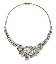 DIAMOND NECKLACE.  The front designed as a stylised bouquet embellished with a loose ribbon, set with circular-, brilliant-, single-cut and baguette diamonds, continuing to the back with a line of graduated baguette stones accented with diamond set stylised foliate motifs, to the chain of fancy linking,  length approximately 410mm.