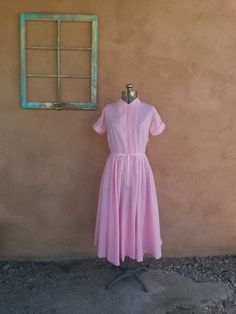 Vintage 1960s House Dress Bubblegum Pink Gingham by bycinbyhand