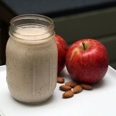 Ultimate, Slim-Down Breakfast Smoothie #Recipe... made with 5 raw almonds, 1 red apple, 1 banana, 3/4 cup nonfat Greek yogurt, 1/2 cup nonfat milk and 1/4 teaspoon cinnamon. Place all ingredients in a blender. (Depending on how powerful your blender is, you may need to chop the apple and almonds into small pieces before blending.) Blend on medium-high for 30 seconds (or until desired consistency).