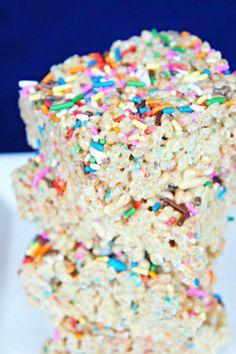 Cake Batter Rice Krispie Treats with Sprinkles.