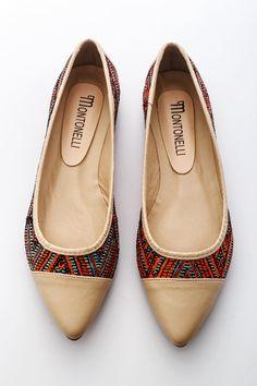 Beige-mintás Montonelli Női Balerina cipő Kép f3ab24a991