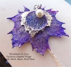 - Real Leaf Pendant, Purple & Silver Necklace, Maple, Birch and Aspen Leaves, Natures Leaves jewelry