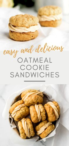 The only thing that beats an oatmeal cookie is an oatmeal cookie sandwich stuffed with Amarula frosting! These are super easy to make, look impressive and are oh so delicious! Easy Gluten Free Desserts, Easy Cookie Recipes, Best Dessert Recipes, Desert Recipes, Easy Desserts, Baking Recipes, Sweet Recipes, Oatmeal Recipes, Cookie Ideas