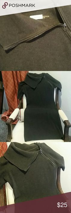 "Charcoal Sweater Dress Great with tights and boots. Great gently used condition. No snags or holes. Zipper detail. Stretch in material. Hits me right above the knee and I'm 5'5"".Smoke free home. Calvin Klein Dresses"