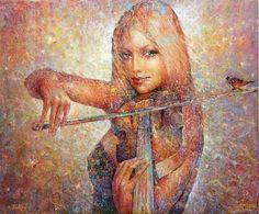 Girl playing a violin art