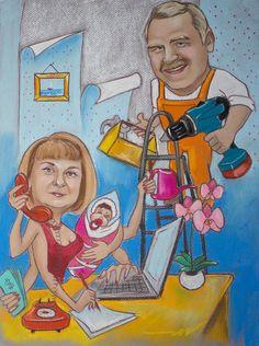 Шарж с изображением семейной пары