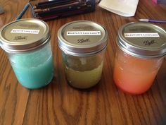  DIY  cool, colorful, lava lamp like water in a mason jar! You just combine vegetable oil and food coloring, mix well. Then have it sit for like 20 mins and shake the jar slowly...then bubbles!