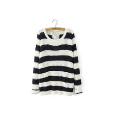 Yoins Striped Sweater ($29) ❤ liked on Polyvore featuring tops, sweaters, long sweaters, long tops, striped top, round top and cable-knit sweater