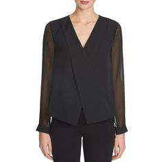 1 State Chiffon-Sleeved Surplice Blouse ($59) ❤ liked on Polyvore featuring tops, blouses, rich black, long sleeve v neck blouse, black blouse, chiffon blouse, black chiffon blouse and chiffon sleeve blouse