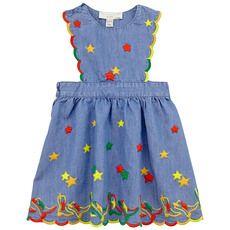Stella McCartney Kids - Robe en chambray denim et broderies multicolores - 70393