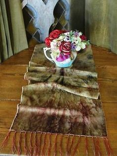 "Lush Long 66"" Victorian Antique Tie Dye Silk Velvet Table Runner w Fringe 