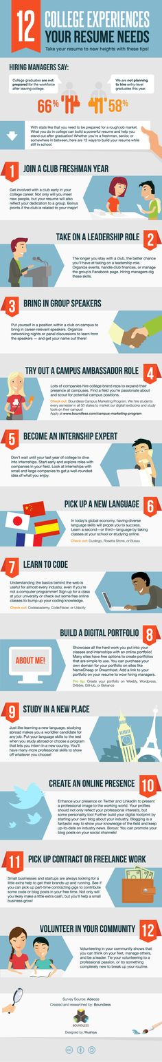 Working on your resume? Check this out!  12-college-experiences-your-resume-needs #infographic