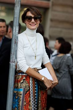 On the street, Milan, via The Sartorialist. So chic and classic. Love the shades and smile.