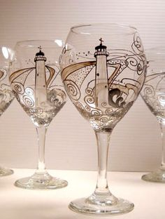 Lighthouse Wine Glass Hand Painted Glassware, Nautical Styled Goblet