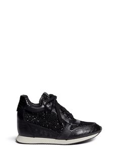 Ash 'dream' Sequin Crochet Wedge Sneakers in Black | Lyst