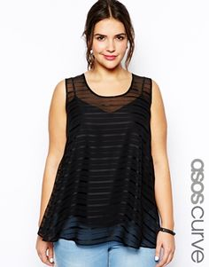 Image 1 of ASOS CURVE Exclusive Swing Top In Self Stripe