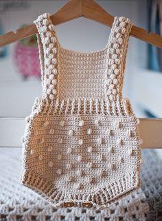 Ravelry: Bobble Romper pattern by Mon Petit Violon Baby Patterns, Knitting Patterns, Crochet Patterns, Scarf Patterns, Knitting Tutorials, Crochet Yarn, Crochet Hooks, Crochet Romper, Crochet Granny