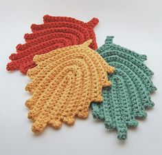 Crochet Hot Pads Set of 3  Cotton  Harvest Leaves by MadeByHand, $14.00