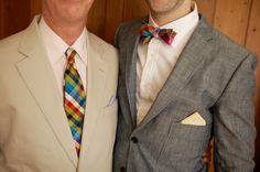 Wedding attire, checked (almost) rainbow tie and bow tie....