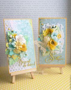 Купить Пара весенних открыток ручной работы к 8 марта - Открытка ручной работы, открытка