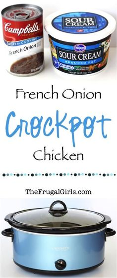 Crockpot French Onion Chicken Recipe from this Slow Cooker dinner recipe is seriously easy and SO delicious Crock Pot Food, Crockpot Dishes, Crock Pot Slow Cooker, Crockpot Meals, Freezer Meals, Crock Pots, Healthy Crockpot Chicken Recipes, Breakfast Crockpot, Dinner Crockpot
