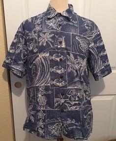 Kahala 1936 Reverse Print Hawaiian Shirt Mens XL Hula Girls Santa Fish Blue/Whit #Kahala #Hawaiian