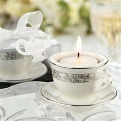 Float a candle in a teacup...vintage chic