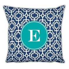 Whitney English Designer Lattice Single Initial Cotton Throw Pillow Letter: B