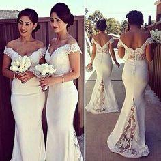 Charming White Long Cap Sleeve Lace Mermaid Sexy Long Bridesmaid Dresses, WG10