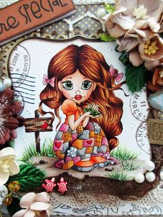 Not only is the coloring on this little sweetie beautiful but the card itself is amazing!!! Lots of folds and pockets. But don't stop with this post..check out her other projects!!!!