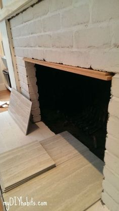 How To Tile Over A Brick Fireplace In 2019 New Home Pinterest