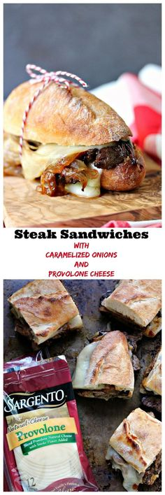 Steak Sandwiches with Caramelized Onions and Provolone Cheese from cravingsofalunatic.com- This easy recipe will be a hit with everyone who tries it. Grilled steak, caramelized onions, provolone cheese, all stacked perfectly on a French baguette. Take a bite! (@CravingsLunatic) #sponsored @sargentocheese