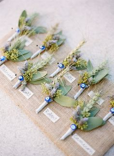 Unique boutonnieres: http://www.stylemepretty.com/north-carolina-weddings/asheville/2015/02/16/romantic-and-regal-biltmore-estate-wedding/ | Photography: Graham Terhune - http://www.grahamterhune.com/