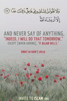ولا تقولن لشيء إني فاعل ذلك غدا إلا أن يشاء الله