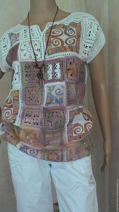 Купить Туника РАСКРАСКА хлопок , батист, батик в интернет магазине на Ярмарке Мастеров Sew Your Own Clothes, Sewing Clothes, Crochet Clothes, Crochet Blouse, Crochet Poncho, Knit Crochet, Sewing Patterns Free, Crochet Patterns, Batik