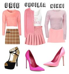 """""""Dressing up like The Mean Girls for Halloween week in Raw"""" by leila-mcclendon ❤ liked on Polyvore featuring Glamorous, Tory Burch, Red Circle, Brian Atwood, Emilio Pucci, Cotton Candy, Miu Miu and Sarah Chloe"""