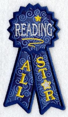 Reading All Star Bookmark (Applique) (In-the-Hoop) design (Y1948) from www.Emblibrary.com