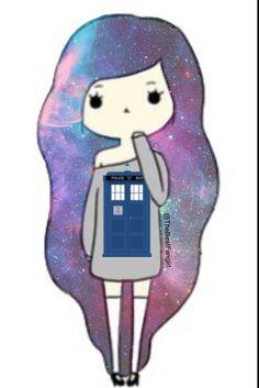 Galaxy tardis chibi girl (credit to Cute Cartoon Drawings, Kawaii Drawings, Kawaii Cute, Kawaii Girl, Desenhos Doctor Who, Tardis, Anime Chibi, Kawaii Anime, Oblyvian Girls