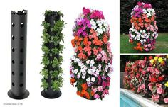 you can use old pipe , make some hole´s and voilá you have a movable flower pot