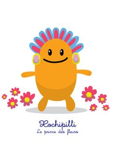 Lil Gods is a series of cute characters, designed for children, based on Mesoamerican deities. Xochipilli : le prince des fleurs (the prince of the flowers) T-Shirt and prints here: https://society6.com/product/xochipilli-le-prince-des-fleurs-lil-gods_print#1=45 English and Spanish version on request