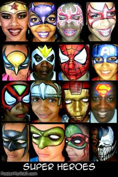 all different superheroes face painting