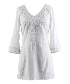 White Embroidered Tunic - Women #zulily #zulilyfinds