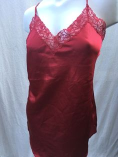 Vintage VICTORIA S SECRET Short Nightgown Gold Label 80s 90s Satin Lace  Size L 1c05c4d84
