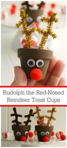 These Rudolph the Red-Nosed Reindeer Treat Cups are quick & easy to make! An entire collection of DIY reindeer can be on your table in just a few minutes. Perfect for classroom gifts, Christmas party favors, or place settings at your Christmas dinner table.