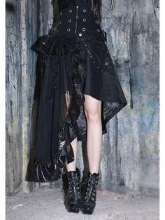 a067f16e502 Black Asymmetrical High Waist Gothic Skirt Gothic Leggings