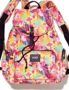 FULL Size Backpack VS PINK Victorias Secret TROPICAL PALM TREE HAWAIIN Floral #PINKVictoriasSecretVictoriaSecretyellowmint (2XE)
