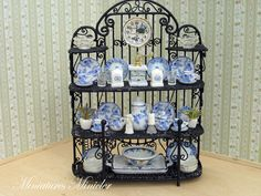 Miniature Dollhouse Metal Shelf With The China by Minicler