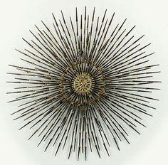 Modern Brutalist Welded Nail Starburst Wall Sculpture. Lot 153-2148